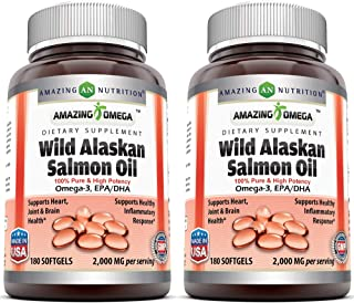 Amazing Omega Wild Alaskan Salmon Oil - 1000mg of Salmon Oil, 180 Softgels - Supports Heart, Joint & Brain Health (Pack of...