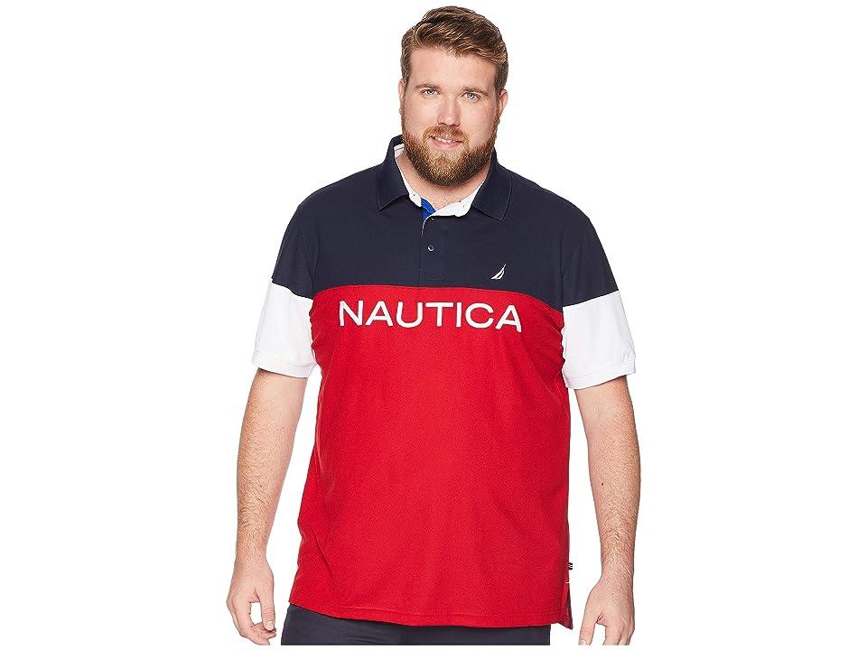 Nautica Big & Tall Big Tall Blocked Polo Shirt (Nautica Red) Men