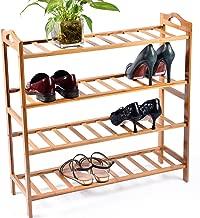 CharaVector Shoe Shelf Storage Organizer 100% Bamboo 4-Tier Shoe Rack