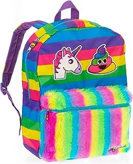 Emoji Unicorn Rainbow Poop Full Size Backpack with Plush Front Pocket