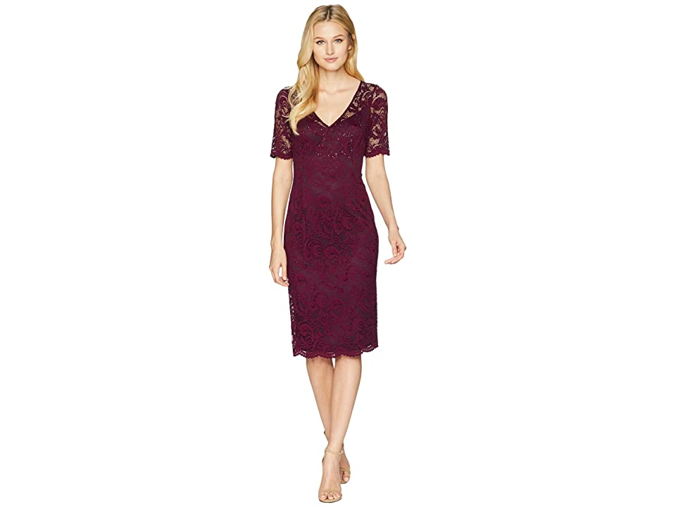 Adrianna Papell Short Sleeve Stretch Lace Cocktail Dress with Scattered Beads (Rich Raisin) Women