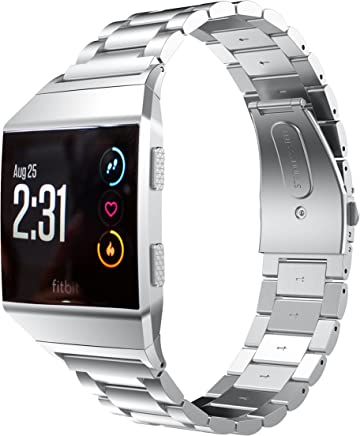 EloBeth For Fitbit Ionic Stainless Steel Strap, Stainless Steel Replacement Band For Fitbit Ionic Watch (Silver)
