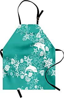 Ambesonne Sea Animals Apron, Dolphins Flowers Sea Life Floral Pattern Starfish Coral Seashell Wallpaper, Unisex Kitchen Bib Apron with Adjustable Neck for Cooking Baking Gardening, Sea Green White
