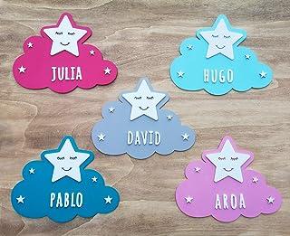 KARIVOO Nube y Estrella de madera MDF personalizada con el nombre para niño y niña para decorar dormitorio cama, puerta, a...
