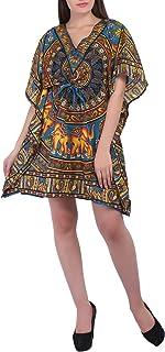Womens Boho Hippie Kaftan Short Length Night Wear Free Size Polyester Dress - Blue