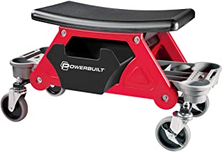 Powerbuilt Heavy Duty Roller Mechanics Seat and Brake Stool with 4-in. Rubber Swivel Casters Roll Over Anything, Big Seati...