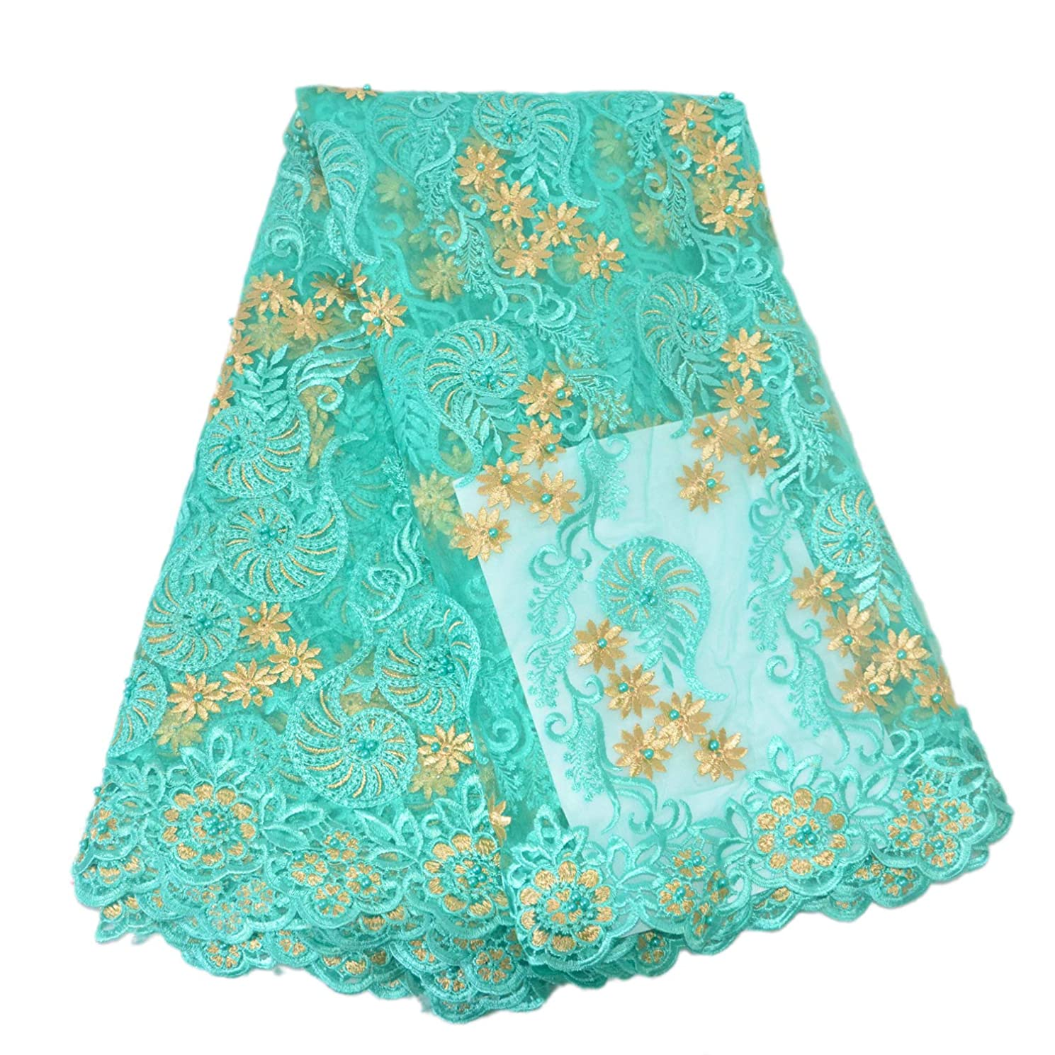 Aisunne African Lace Fabrics 5 Yards Nigerian French Lace Fabric Fashion Embroidered and Beading for Wedding Party Dresses (Green)