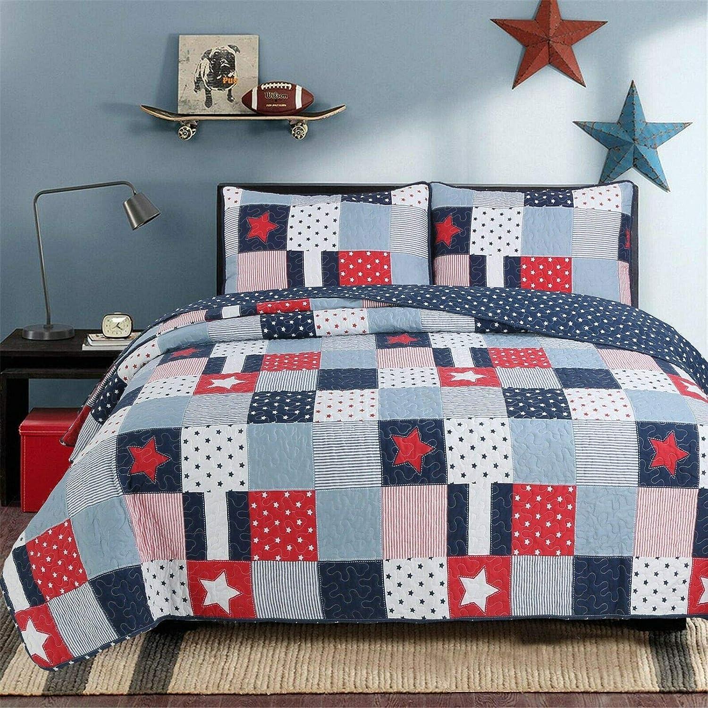 Cozy Line Home Fashions Navy 特価品コーナー☆ Red Boy Star Quilt Beddi 永遠の定番モデル Reversible