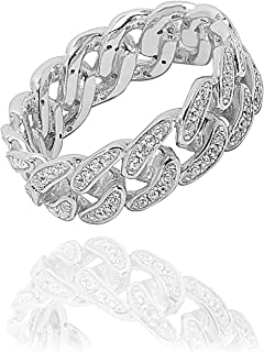 NYC Sterling Women's Sterling Silver Cubic Zirconia Curb Link Ring