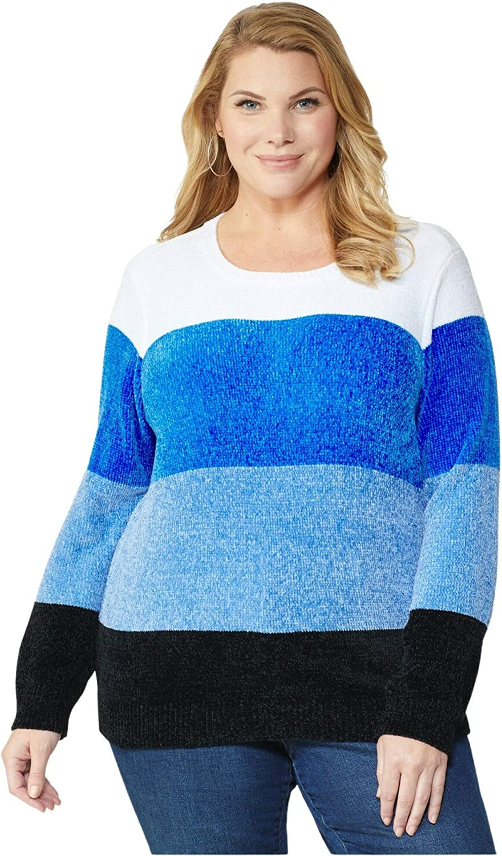 Dressbarn Women's Denim Combo Roz & Ali Chenile Colorblock Pullover Sweater - Pl 3X