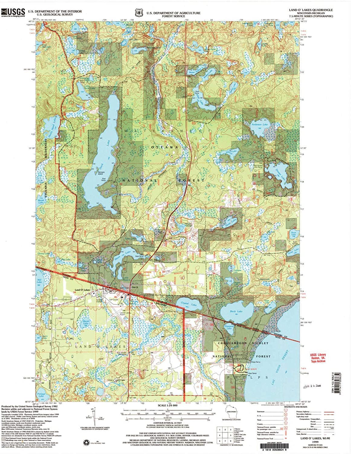 Land O Lakes WI topo map, 1 24000 Scale, 7.5 X 7.5 Minute, Historical, 1999, Updated 2005, 27.31 x 21.93 in