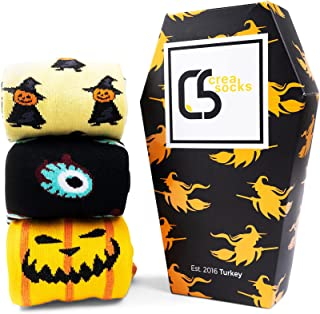 CREA SOCKS 3 pary skarpet na Halloween, zabawne skarpety męskie, zabawne skarpety męskie, skarpety na prezent, na Hallowee...