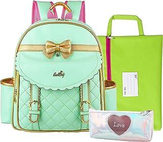 Suerico Girls Backpack Kids Princess Backpack Waterproof School Bag with File Bag and Pencil Case