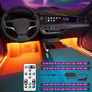 Govee Interior Car Lights with Remote and Control Box, Upgraded 2-in-1 Design Interior Car LED Lights with 32 Colors, 48 L...