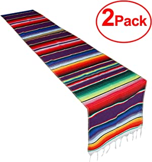 CRJHNS Table Runner 2 Pack Mexican Cotton Serape Runners Set for Party Wedding and Home Decorations,14x84 Inch (14x84/2 Pack)