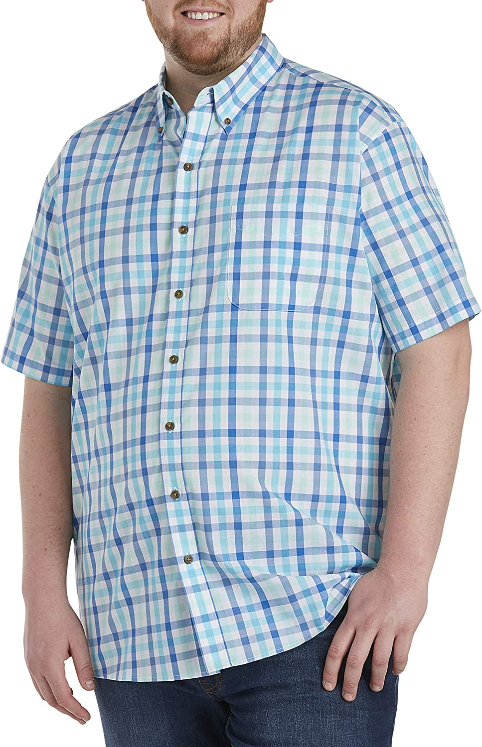 Harbor Bay by DXL Big and Tall Easy-Care Multi Check Sport Shirt, Blue
