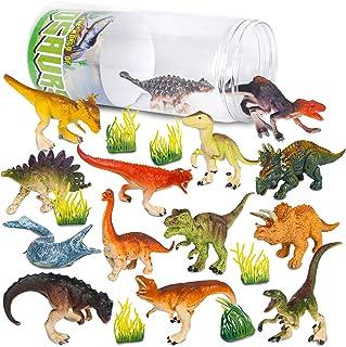 Vanplay 21Pcs Jouet Dinosaure Figurine Dinosaure avec Seau de Stockage pour Les Enfants