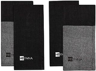 HEYNNA® Lot de 4 torchons de cuisine dans 2 designs différents – serviettes de cuisine absorbantes en gris/noir pour la cu...