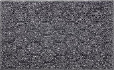 "Indoor Doormat Front Door Mat Non Slip Rubber Backing Super Absorbent Mud and Snow Magic Inside Dirts Trapper Mats Entrance Door Rugs Shoes Scraper Machine Washable Carpet - 20"" x 32"", Grey"
