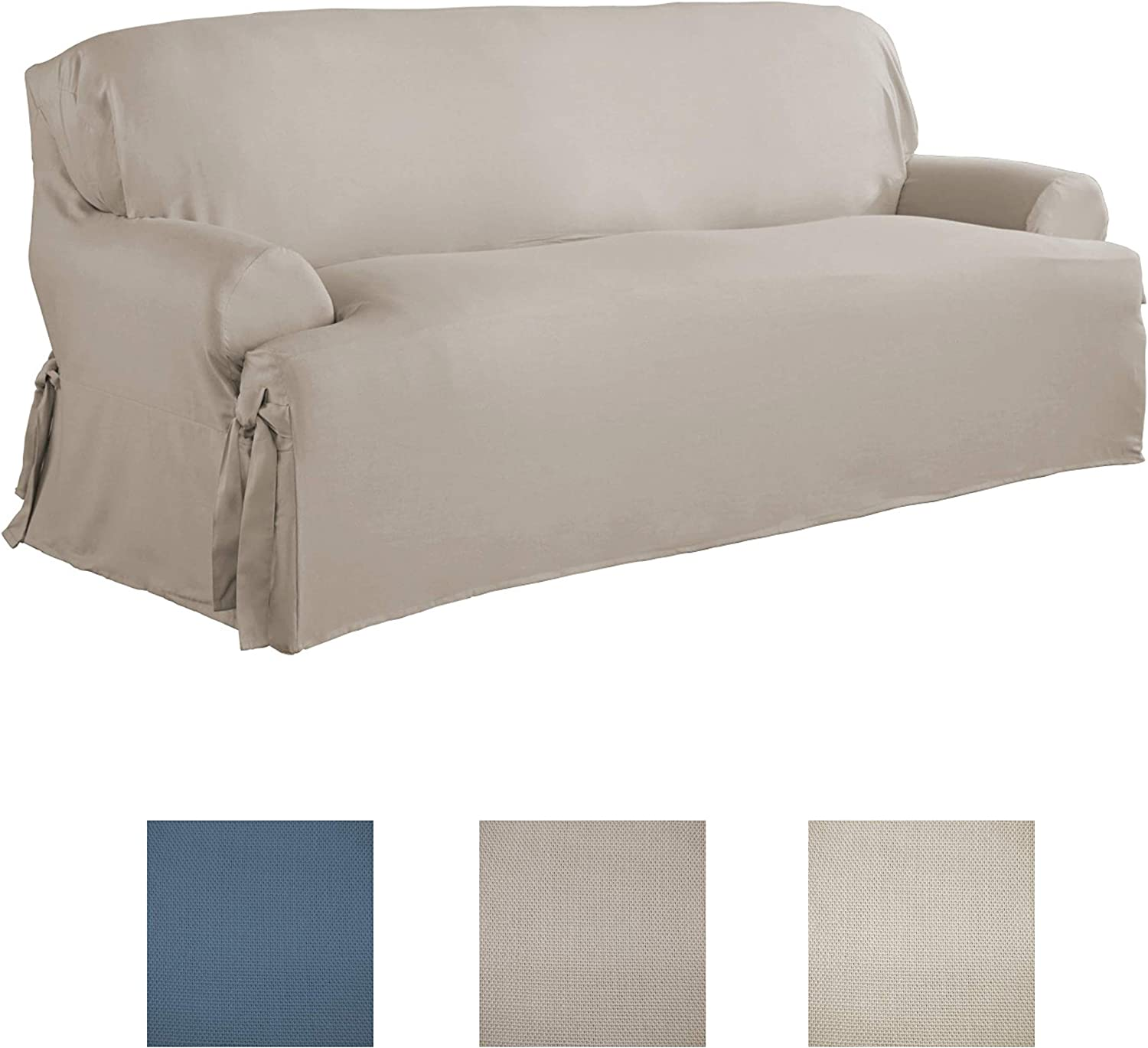 Serta   Relaxed Fit Durable Woven Linen Canvas Furniture Slipcover (T-Sofa, Khaki)