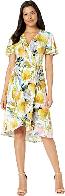 Wrap Dress w/ Flutter Sleeveless