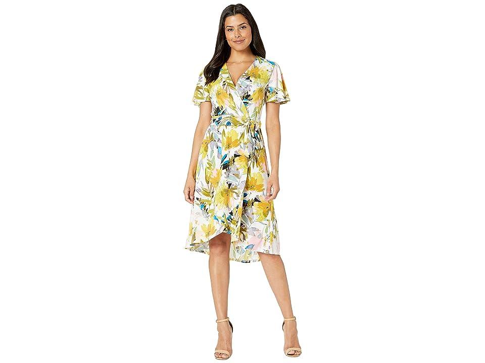 London Times Wrap Dress w/ Flutter Sleeveless (White/Pink) Women
