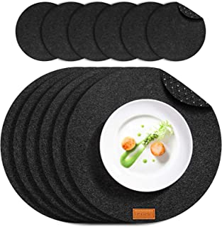 Le cielci® Lot de 6 sets de table ronds en feutre - 6 sets de table, 6 sous-verres - Lavables - Antidérapants - Anthracite