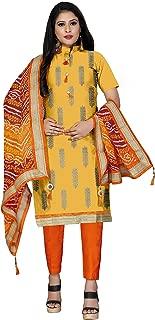 Maroosh Women'S Cotton Fabric Yellow Color Chudidar Free Size Dress Material