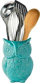 Comfify Soporte de Utensilios de Búho Soporte de Utensilios de Cocina de cerámica en un Bello Color Azul –Carrito de Utensilios y la decoración Cocina en cerámica - Tamaño 12.7cm x 17.8cm x 10.2cm