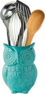 """Comfify Owl Utensil Holder Decorative Ceramic Cookware Crock & Organizer, in Lovely Aqua Blue Color - Utensil Caddy and Perfect Kitchen Ceramic Décor Gift - 5"""" x 7"""" x 4"""" Size"""