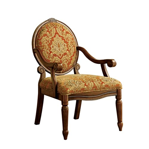 Furniture of America Gwyneth Victorian Style Padded Fabric Arm Chair,  Antique Oak Finish - Antique Lounge Chairs: Amazon.com