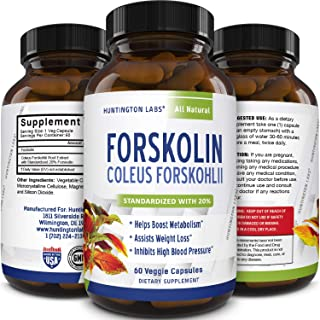 Forskolin Weight Loss Supplement for Men & Women Pure Coleus Forskohlii Extract Diet Pills Fat Burner Capsules Natural Appetite Suppressant Metabolism Booster Extra Strength by Huntington Labs