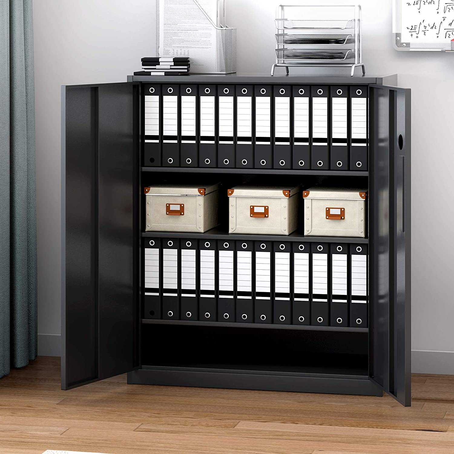 A4 Document Metal Filing Cabinet Steel 2 Door Locking Bookcase Shelving Unit with Keys Office Storage Cupboard 3 Tier a