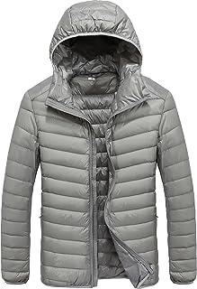 TACVASEN ウルトラ ライト ダウンジャケット メンズ 超軽量 フード付き 無地 羽毛 アウター ダウン コート 軽暖 スリム 登山