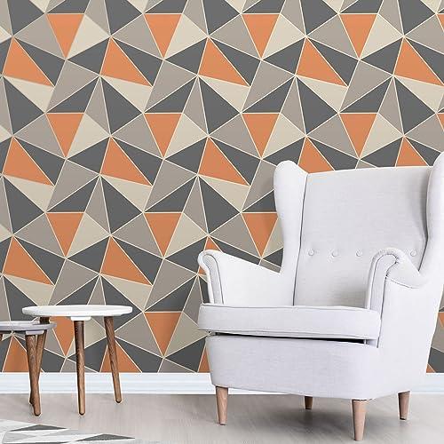 Fine Décor FD42002 UK Apex Geo Sidewall Wallpaper, Burnt Orange