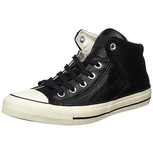 2e213e954f9d1 Black Leather Converse: Amazon.com