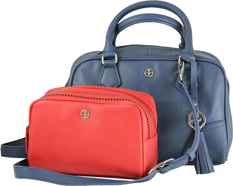 Faux Leather Women's Purse Stylish Leather with BONUS Clutch Makeup Detachable Shoulder Strap Bag for Women