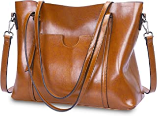 S-ZONE Women Genuine Leather Top Handle Satchel Daily Work Tote Shoulder Bag Large Capacity