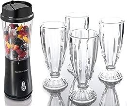 Hamilton Beach Single Serve Blender, Black bundle with La Rosticceria Spencer 4-Piece Milk Shake Glass Set