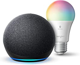 Echo Dot (4th Gen) | Smart speaker with Alexa | Charcoal with Sengled Bluetooth Color bulb