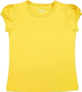GOXU Girls' Basic Short Puff Sleeve Round Neck Cotton T-Shirt