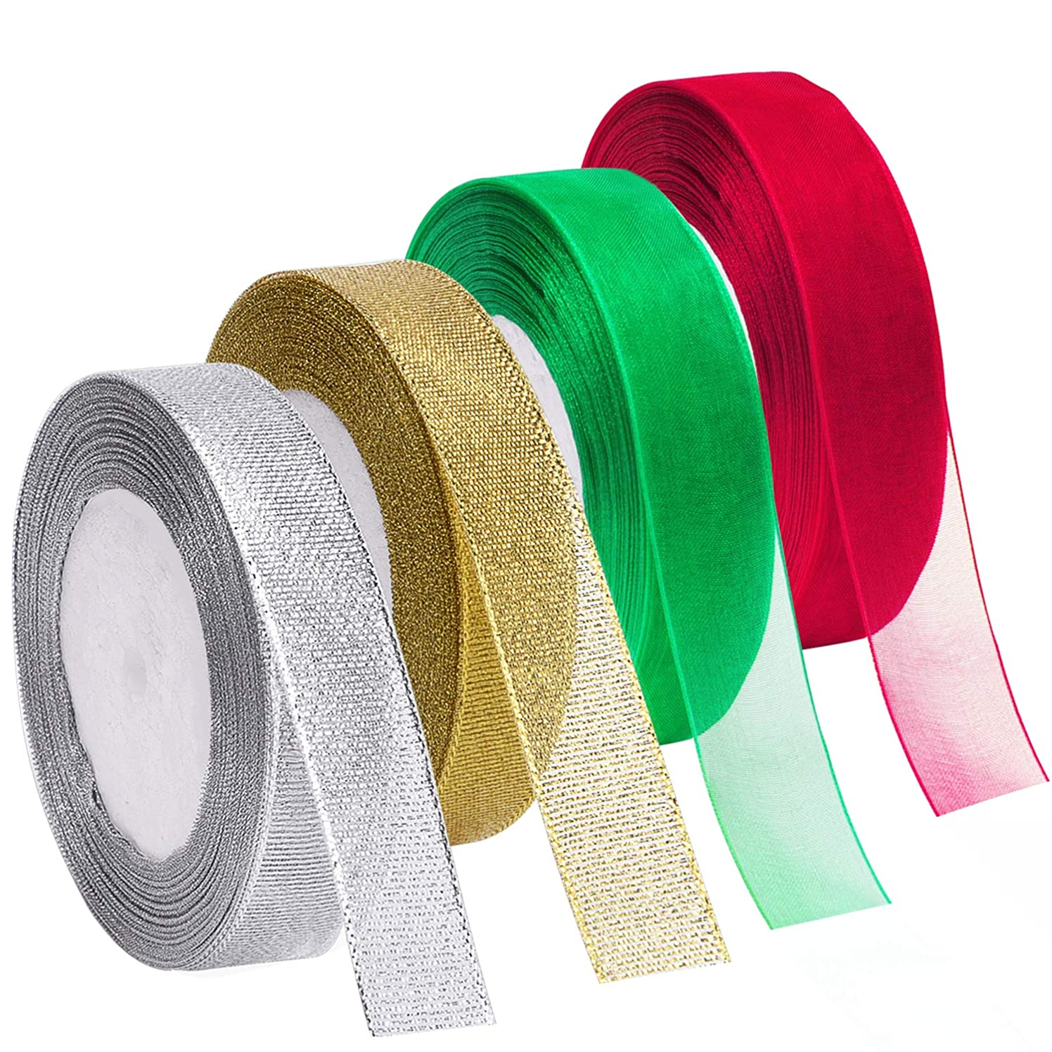 Livder 4 Rolls 4/5 Inch in Width Christmas Metallic Glitter Organza Ribbons Golden, Silvery, Red, Green Ribbon for Gift Wrapping, Christmas Tree Room Decoration