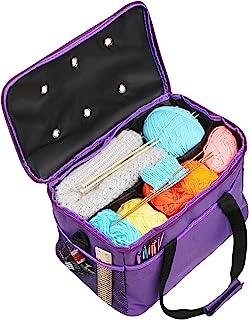 LEMESO Stockage de Laine, Sac à Tricoter Portable, Sac Fourre-Tout pour Rangement pour Fils Textiles, 4 Compartiments Faci...