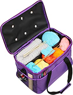 Knitting Bag, LEMESO Yarn Tote Storage Organizer Portable Individual Compartments & High Capacity for Carrying Unfinished Project Crochet Hooks Needles Accessories Purple