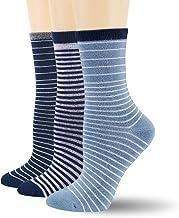 +MD 3 Paar Damen Bambus Socken Feuchtigkeitstransport Streifenmuster Casual Crew socken