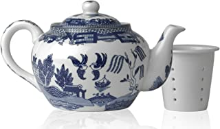 HIC Harold Import Co. 3723 HIC Blue Willow Teapot, Fine White Porcelain, 3-Cup, 16-Ounce,