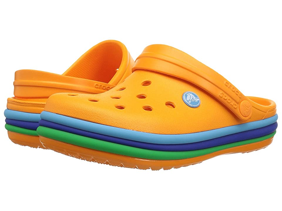 Crocs Kids Crocband Rainbow Band Clog (Toddler/Little Kid) (Blazing Orange) Kids Shoes