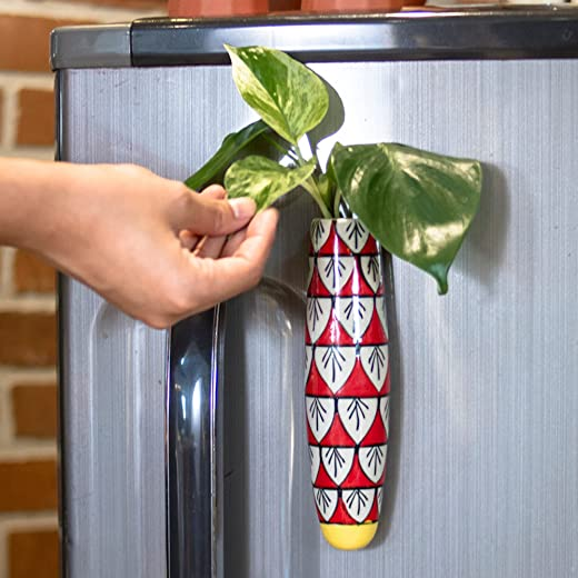 Lazy Gardener Magnetic Hydroponic Planter with Cleaning Brush   Unique Ceramic Fridge Magnet - Handmade, Handpainted - Red and Yellow (Pack of 1)