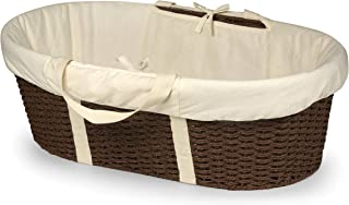 Badger Basket Wicker-Look Woven Baby Moses Basket with Bedding, Sheet, and Pad, Espresso/Ecru