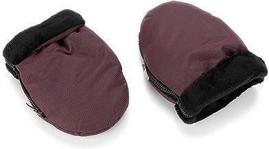 Manoplas para carro de bebé color vino con interior negro | Guantes de protección contra el frío y lluvia de carro de bebé | Manoplas impermeables de invierno para pasear con el bebé